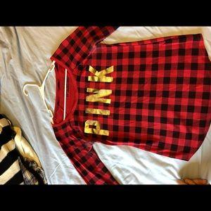 PINK long sleeve waffle knit long sleeve